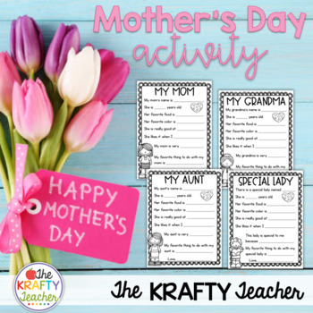 Mother's Day Writing Activity Kindergarten, First, Second