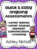 Quick and Easy Ongoing Assessments: Alphabet and Number Identification