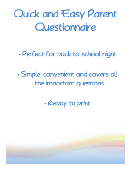Quick and Easy Parent Questionnaire