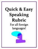 Quick and Easy Speaking Rubric for All Foreign Languages