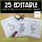 Editable Articulation Practice Sheets for Spring | Speech Lists included