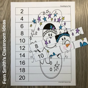 Quick and Easy to Prep Counting Puzzles for January with a Snowmen Theme