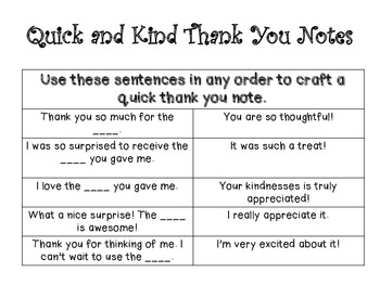 Quick and Kind Thank You Notes From You to Your Student