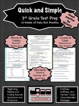 Quick and Simple 3rd Grade Test Prep Bundle