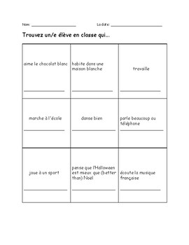 Quick and easy French conversation activity