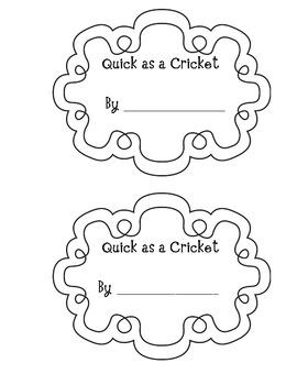 Quick as a Cricket Emergent Reader