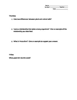 Quick bell work science/social studies daily review