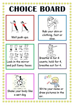 Quick choice board of self-regulation activities 1