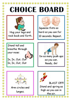 Quick choice board of self-regulation activities 2