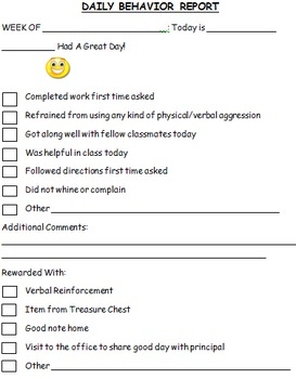 Quick daily behavior reports to send home to parents