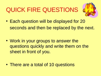 Quick fire questions activity for acids and alkalis