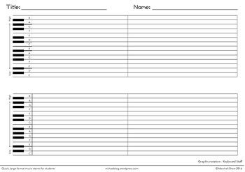 Quick, large format Music Staves for students