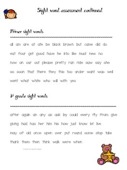 Quick letter and sight word assessment