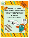 Quick n Easy Vol 1 - Filing System, Folder Labels - Time S