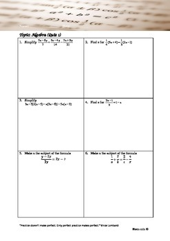 Quick practice on algebra