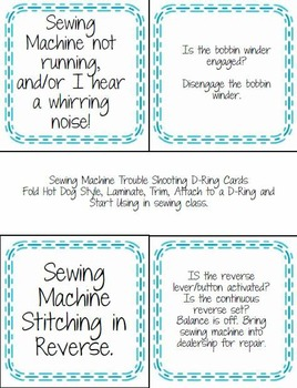 Quick reference Sewing Machine Trouble Shooting D-Ring Cards