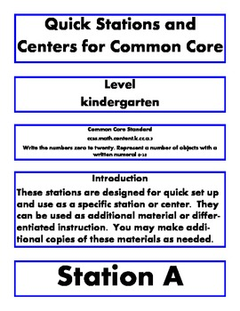 Quick stations and centers kindergarten common core k.cc.a.3 writing 0-20