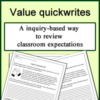 Quickwrite prompts for teaching class values, procedures, and expectations