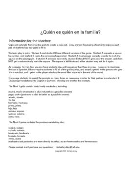 Quien es quien en la familia?  TicTacToe - Spanish family vocabulary