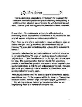 ¿Quién tiene . . .?  A Game to Review Classroom Objects