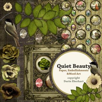 Quiet Beauty Printable Digital Paper, Embellishments and Alphas