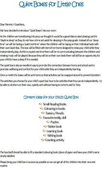 Quiet Box Letter to Parents
