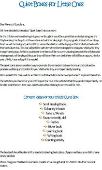 Quiet Box Letter to Parents