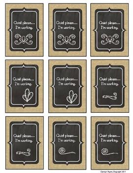 Classroom Management:  Quiet Cards