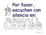 Quiet Listening Procedure Poster in Spanish