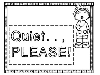 Quiet Time POSTERS - Character Education and Rules