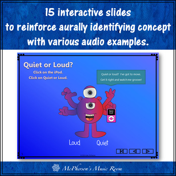 Quiet or Loud? I've got to move! Interactive Music Game for dynamics (monsters)