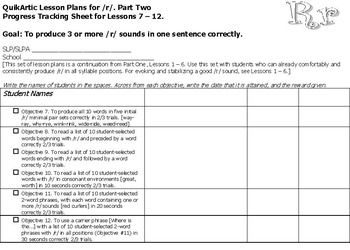 QuikArtic Lesson Plans for r Sound Therapy, Part 2. Lessons 7 - 12
