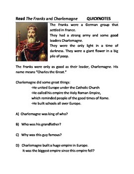 QuikNotes: Charlemagne (Reading & Activity)
