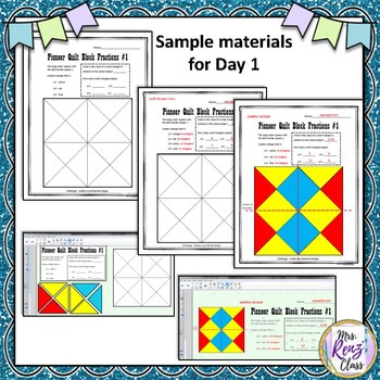 Quilt Block Fractions to Reinforce Oregon Trail and Symmetry (also SMART Board)