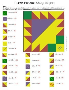 Multiplying Integers Color Mystery Pattern
