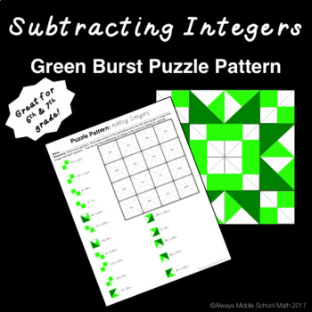 Subtracting Integers Color Mystery Pattern