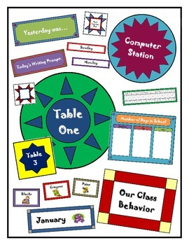 Quilt Pattern Classroom Labels