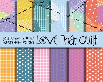 Quilt Pattern Digital Papers - 300 DPI - Vector and PNG - Pennants Included
