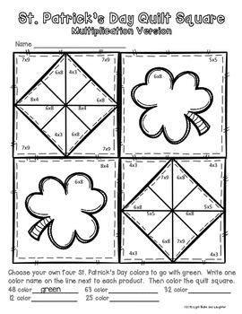 St. Patrick's Day Math Art - Quilt Square