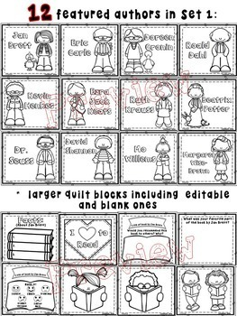 Quilt Worksheets & Blocks - Set 1 (Author Biographies)