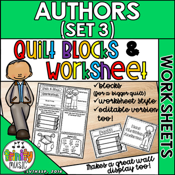 Quilt Worksheets & Blocks - Set 3 (Author Biographies)
