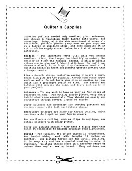 Quilting - A Classroom Introduction of Activities and Handouts