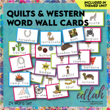 Quilts & Western Word Wall Cards (set of 22)