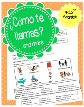 Basic Spanish conversation activity for beginners- ¿Cómo te llamas? and more