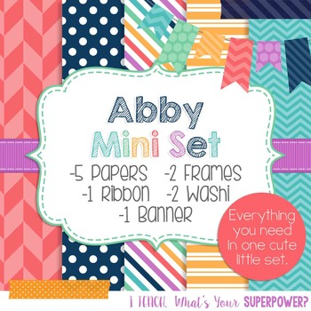 Digital Paper and Frames Mini Set Abby
