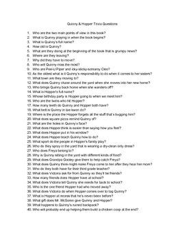 Quinny & Hopper Trivia Questions