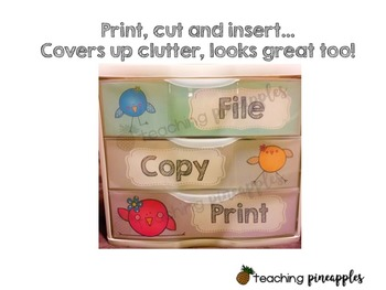 Quirky Birds Editable 3 Drawer Labels