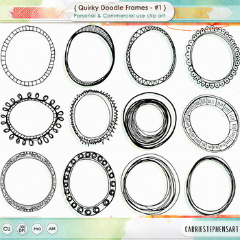 Quirky Doodle Frames, Oval + Round Labels, PNG ClipArt and Photoshop Brushes