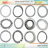 Quirky Doodle Frames, Oval + Round Labels, PNG ClipArt
