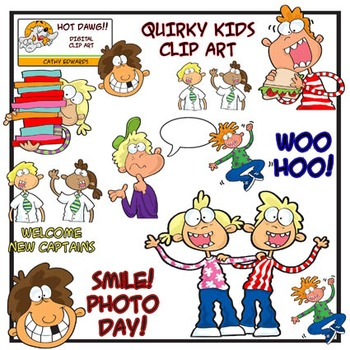 Quirky Kids - Digital clip art by Hot Dawg Illustration